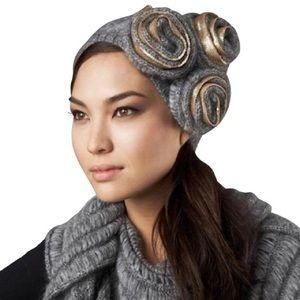 Diane von Furstenberg Gray Carlisle Rosette Hat